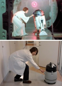 Re-enacting the scene where Princess Leia sends the coordinates of the Death Star using the R2D2 robot. In my case, it was the ice-and-liquid vacuum cleaner. Back in my PhD student days, I was responsible for maintenance&cleaning of the -80°C freezer, and used this little fellow a loooot...