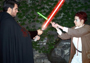 "My best (male) friend, Max, and I, as a sith and jedi apprentice (""padawan""). A photo was indeed taken ""a long, long time ago, in a galaxy far, far away"" (2002, Belgrade). My hair is Photoshopped in red. Only recently, it was red for realz."