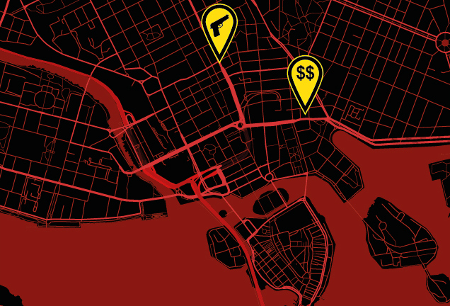 Crime Map of Stockholm. $$ - Norrmalmstorg robbery. Gun - coming soon!