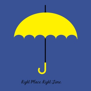 "The Yellow Umbrella, symbol of the How I Met Your Mother TV show, and being at the ""right place at the right time"". Note: the Swedish flag colors!"