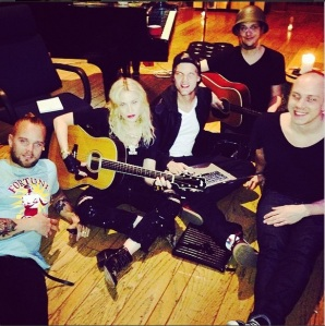 "Madonna in studio with, as she calls it, her ""Viking harem"": Avicii, Vincent, Salem al Fakir and Magnus ""Filthy"" Lidehäll."