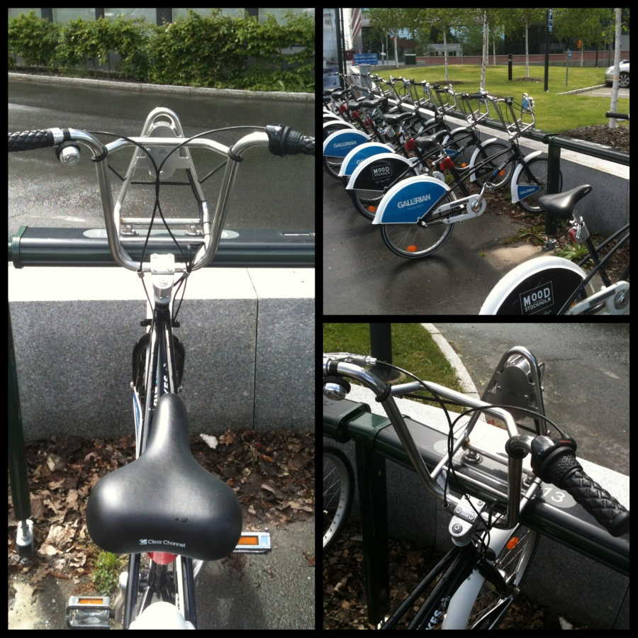 Stockholm City Bikes stand near KI campus Solna.