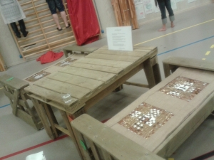 Tables made from recycled material