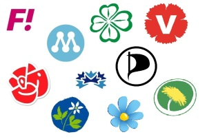 Logos of all major political parties in Sweden. Lots of flowers.