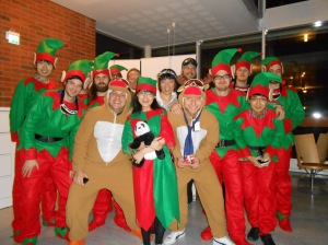 The winners of the best clothing at the Xmas party
