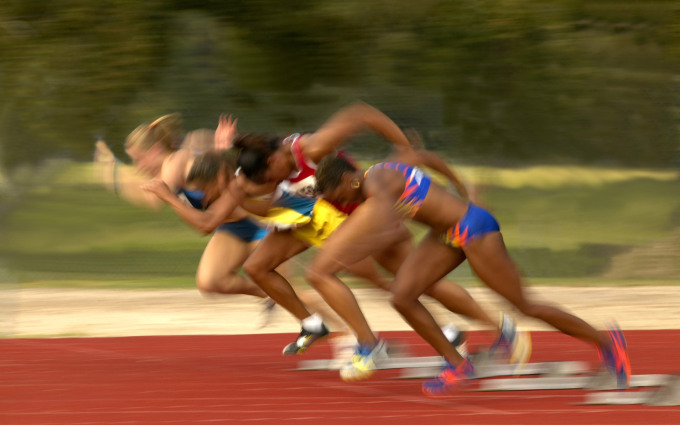 Athletes Beginning a Track Competition